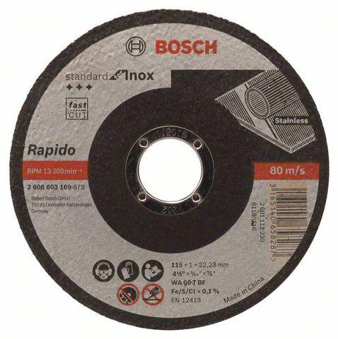 Круг отрезной по нержавейке Bosch Standard for Inox прямой, 125х1 мм