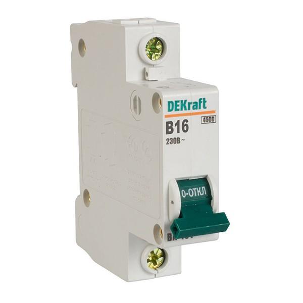 Автоматический выключатель DEKraft ВА-101 1п В 16А 4.5кА