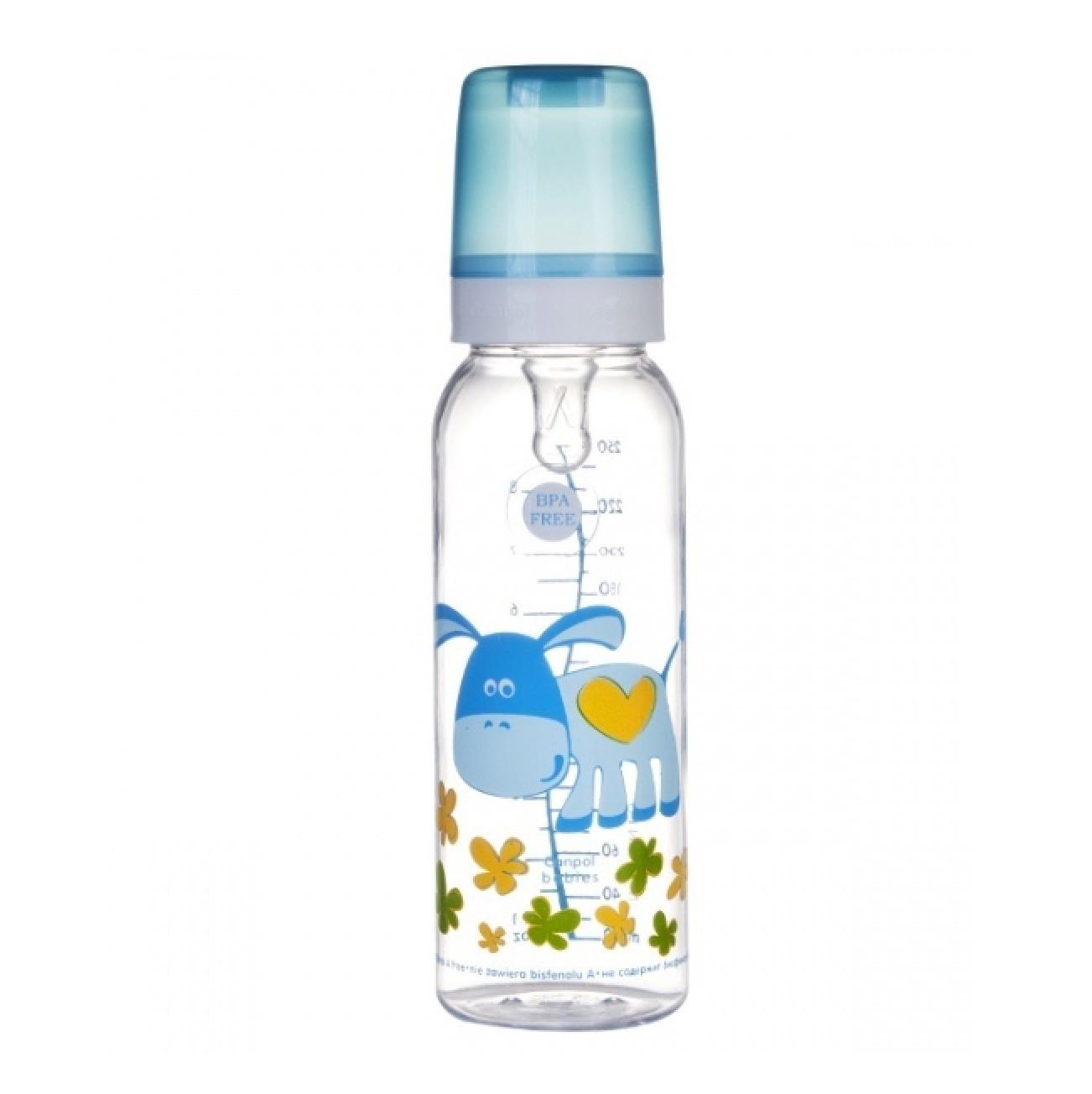 Бутылочка Canpol Cheerful animals тритановая, силиконовая соска, 250 мл, 12+, 11/841prz, ослик