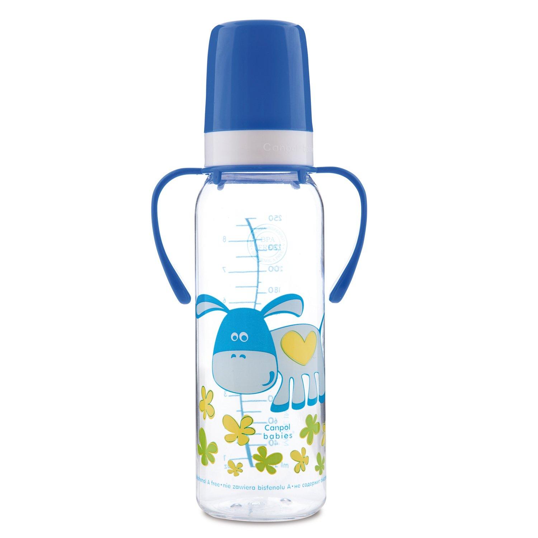 Бутылочка с ручками Забавные животные, ослик синий, 250 мл