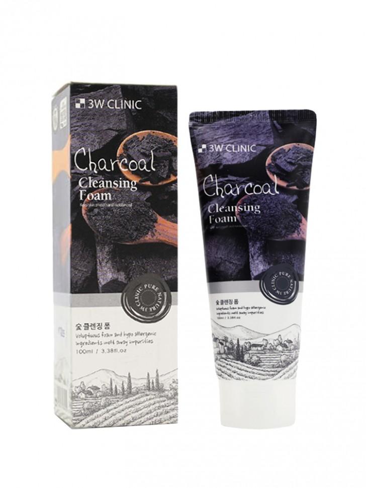 Пенка для умывания 3W Clinic Charcoal Cleansing Foam