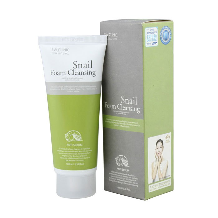 Пенка для умывания 3W Clinic Snail Cleansing Foam
