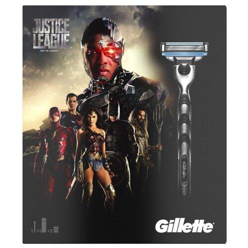 Набор Gillette Лига справедливости гель для бритья Extra Comfort 75 мл, бритвенный станок Mach3