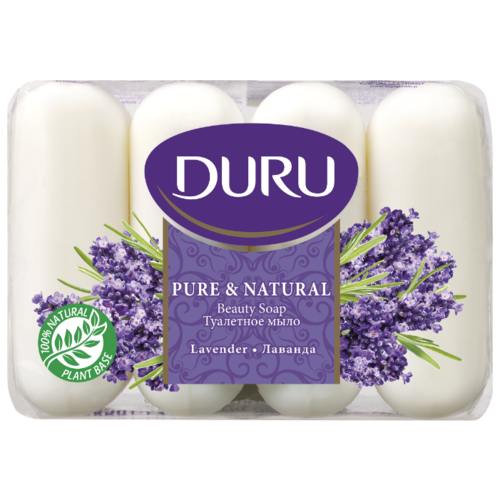 Мыло кусковое DURU Pure #and# natural Лаванда, 4 шт., 85 г