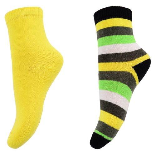 Носки playToday комплект из 2 пар, размер 12, черный/желтый/зеленый