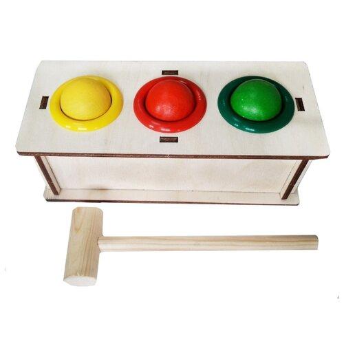 Стучалка Woodland 3 отверстия 115101 бежевый/желтый/зеленый/красный
