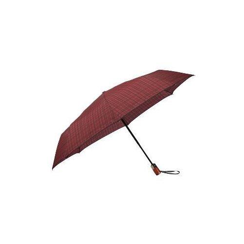 Зонт автомат Samsonite Wood Classic S (8 спиц, большая ручка) бордовая клетка