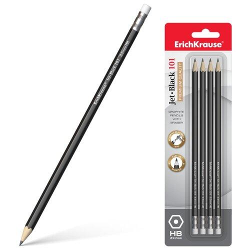 Набор чернографитных шестигранных карандашей с ластиком Jet Black 101 4 шт (45607)