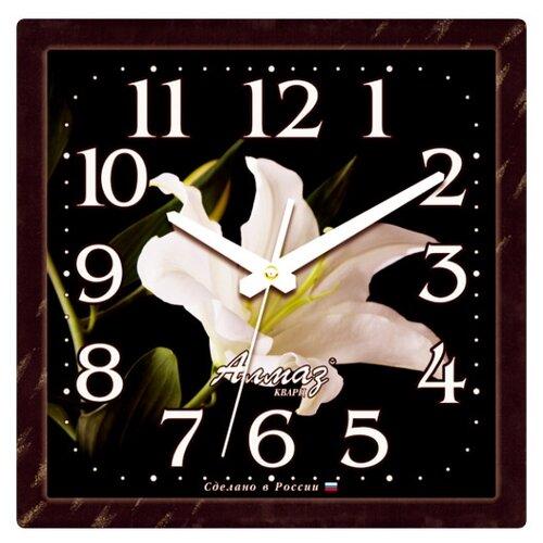 Часы настенные кварцевые Алмаз K50 черный / белый