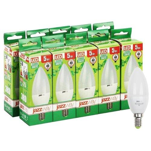 Упаковка светодиодных ламп 10 шт jazzway PLED-ECO 3000K, E14, C37, 5Вт