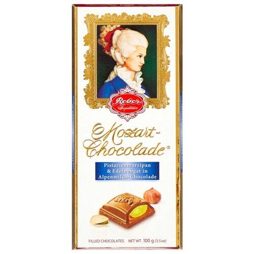 Шоколад Reber Mozart AlpenVollmilch молочный с ореховым пралине и фисташковым марципаном, 100 г