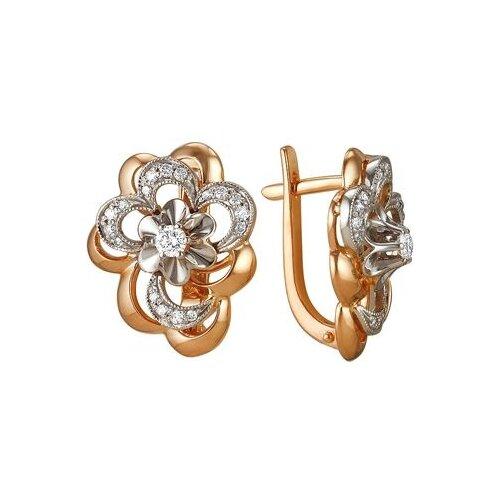 Мастер Бриллиант Серьги Цветы с 36 бриллиантами из красного золота 2-105-108
