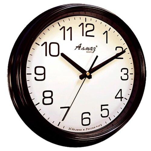 Часы настенные кварцевые Алмаз A19 черный/белый