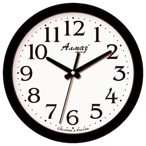 Часы настенные кварцевые Алмаз E01 черный/белый