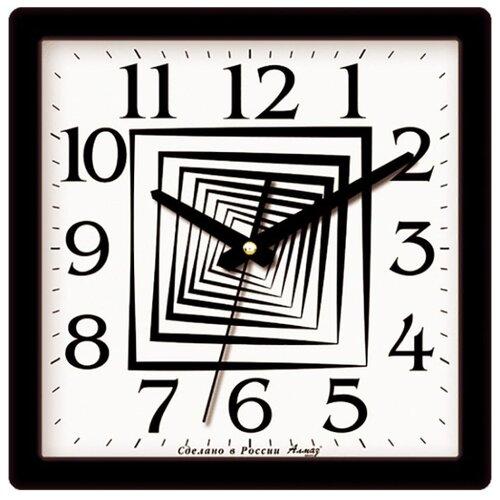 Часы настенные кварцевые Алмаз M28 черный/белый
