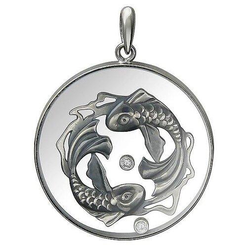Эстет Подвеска Рыбки с ювелирным стеклом и фианитами из чернёного серебра 01П152633Ч