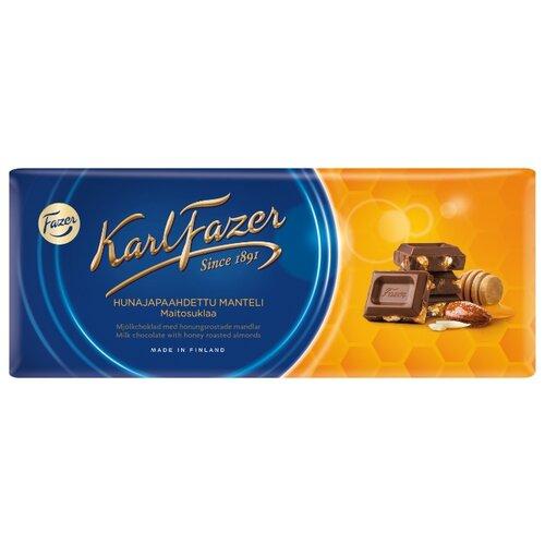 Шоколад Fazer молочный с жареным миндалем и медом 30% какао, 200 г