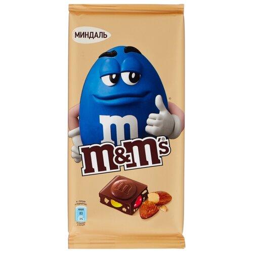 Шоколад M#and#M\'s молочный с миндалем и разноцветным драже, 122 г