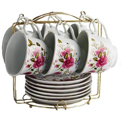 Чайный сервиз Rosario Гармония 12 предметов 220 мл белый/розовый