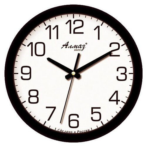 Часы настенные кварцевые Алмаз B91 черный/белый