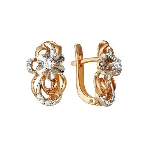 Мастер Бриллиант Серьги Цветы с 14 бриллиантами из красного золота 2-105-36