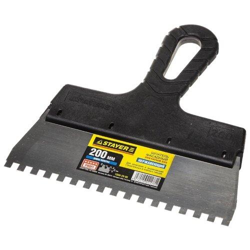 Шпатель зубчатый STAYER 1009-20-06 200 мм черный