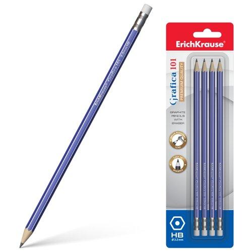 Набор чернографитных шестигранных карандашей с ластиком Grafica 101 4 шт (45615)