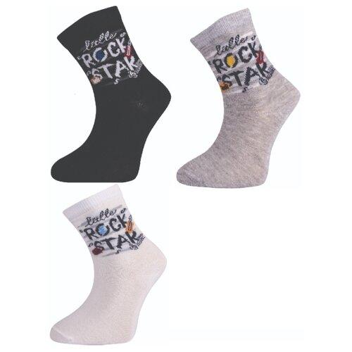 Носки Step комплект 3 пары размер 7 лет, черный/серый/молочный