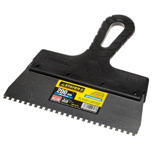 Шпатель зубчатый STAYER 1009-20-04 200 мм черный