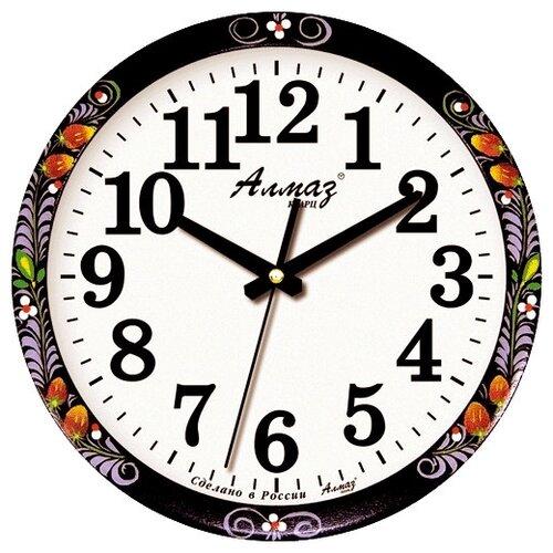 Часы настенные кварцевые Алмаз B83 черный/белый