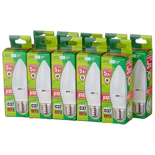 Упаковка светодиодных ламп 10 шт jazzway PLED-ECO 4000K, E27, C37, 5Вт