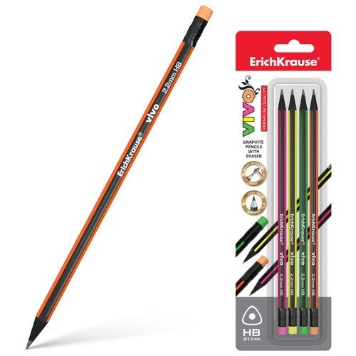 Набор чернографитных трехгранных карандашей с ластиком Vivo 4 шт (45624)