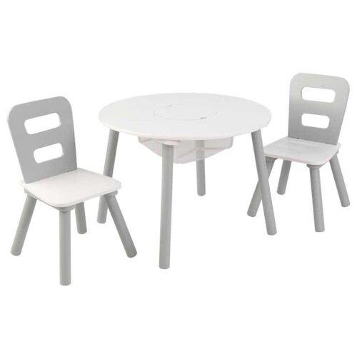 Комплект KidKraft круглый стол + 2 стула (26165_KE, 26166_KE, 27027_KE) 60x60 см серый/белый
