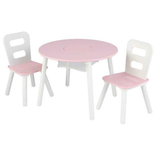Комплект KidKraft круглый стол + 2 стула (26165_KE, 26166_KE, 27027_KE) 60x60 см розовый/белый