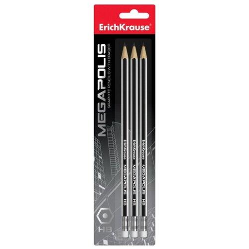 Набор чернографитных шестигранных карандашей с ластиком Megapolis 3 шт (44490)