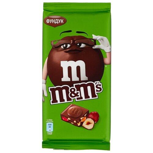 Шоколад M#and#M\'s молочный с фундуком и разноцветным драже, 122 г