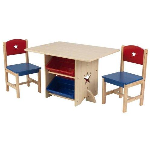 Комплект KidKraft стол + 2 стула + 4 ящика Star (26912_KE) 57x77 см бежевый/синий/красный
