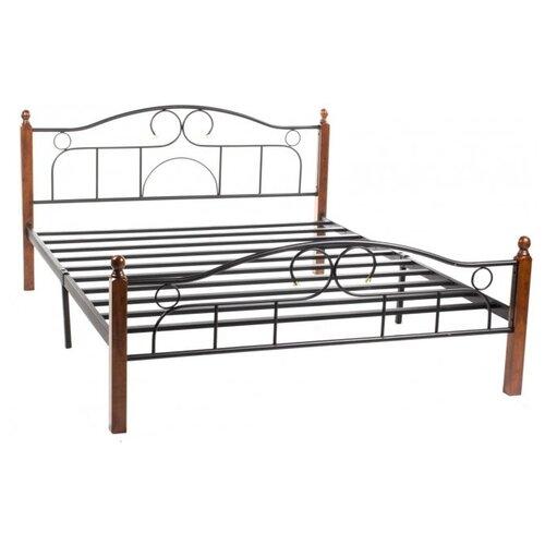 Кровать TetChair AT-808 двуспальная, спальное место (ДхШ): 200х180 см, каркас: массив дерева, цвет: коричневый/черный