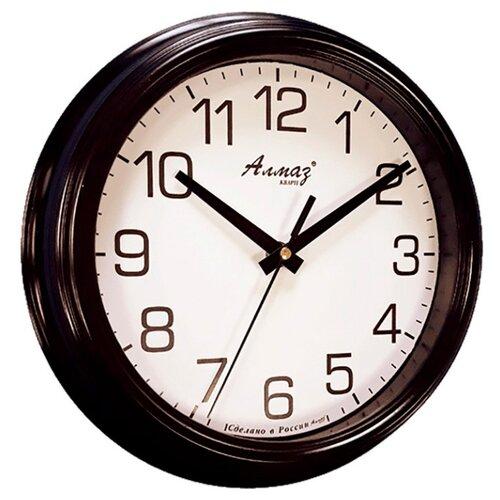 Часы настенные кварцевые Алмаз C02 черный/белый