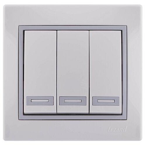 Выключатель 3х1-полюсный Lezard Mira 701-0215-109,10А, белый/серый