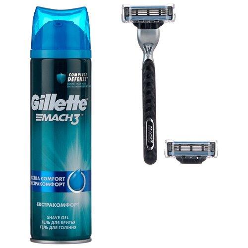 Набор Gillette подарочный дорожная косметичка, гель для бритья Mach3 Extra Comfort 200 мл, бритвенный станок Mach3