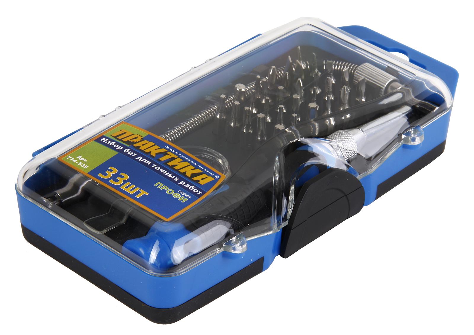 Отвертка  с набором бит для точной работы 33 шт. ПРАКТИКА 774-535 мини, с набором бит 33 шт.