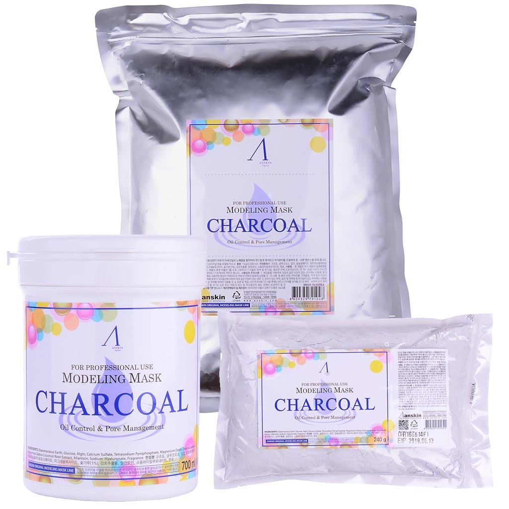 Маска альгинатная для жирной кожи с расширенными порами anskin charcoal modeling mask