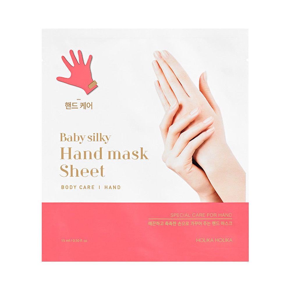 Смягчающая маска для рук holika holika baby silky hand mask sheet