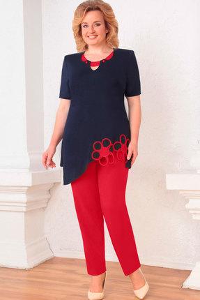 Комплект брючный Асолия 1140 тёмно-синий+красный