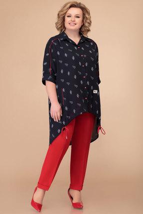 Комплект брючный Svetlana Style 1396 темно-синий с красным