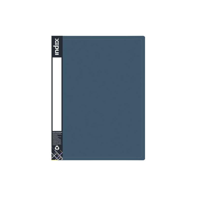 Папка на 2 кольцах INDEX METALLIC, форзац, ф.A4, темно-синяя, 0.75мм, 2см