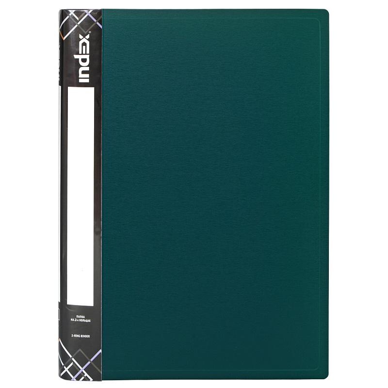 Папка на 2 кольцах INDEX SATIN, форзац, ф.A4, темно-зеленая, 0.6мм, 2см