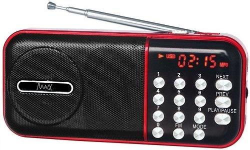 Радиоприемник MAX MR-321 Red/Black micro SD / USB, AM/FM приёмник, LCD экран, воспроизведение до 6 часов, 5 Вт, встроенный сабвуфер