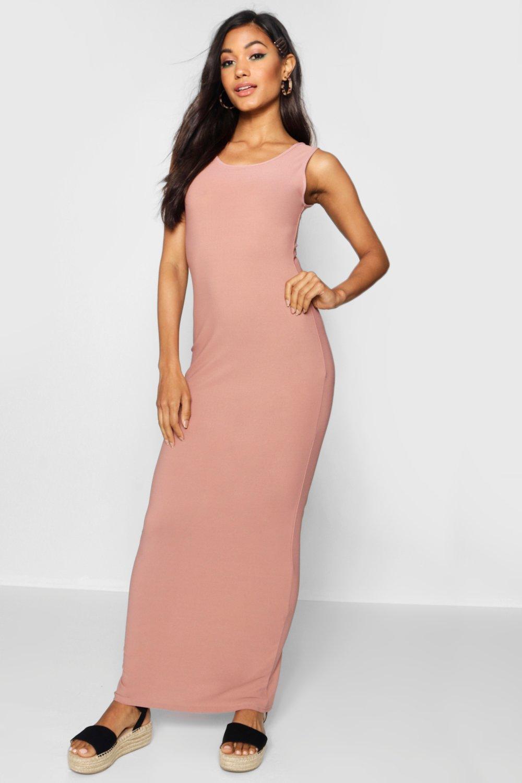 Макси-платье из джерси с овальным вырезом спереди